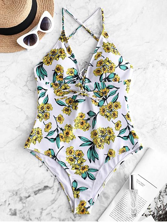affordable ZAFUL Lace Up Flower Backless Swimsuit - MULTI-A L