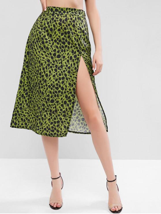 women's High Slit Leopard Print A Line Skirt - GREEN M