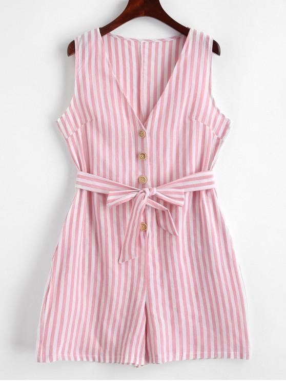 best Striped Buttoned Belted Sleeveless Romper - LIGHT PINK L