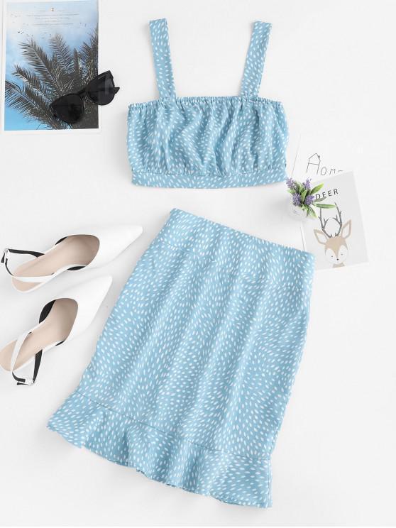outfits ZAFUL Ditsy Print Crop Top and Ruffle Mini Skirt Set - DENIM BLUE L