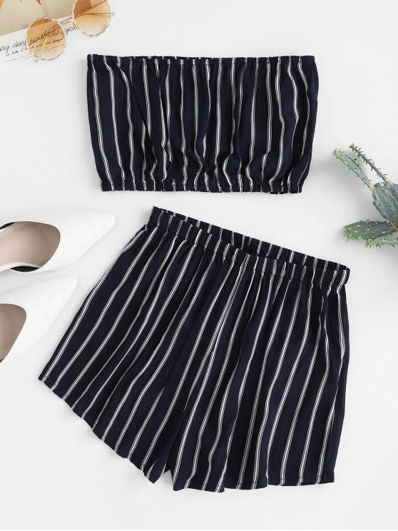 women ZAFUL Striped Strapless Loose Shorts Set - DEEP BLUE XL