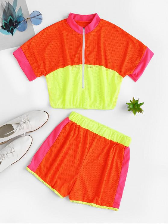 lady Half Zip Breathable Contrast Neon Shorts Set - MULTI-B L