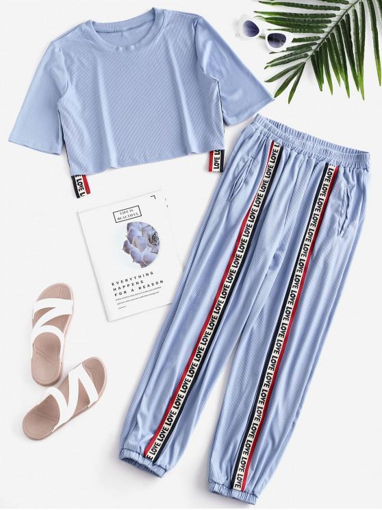 latest Love Graphic Ribbed Pocket Pants Set - DENIM BLUE XL