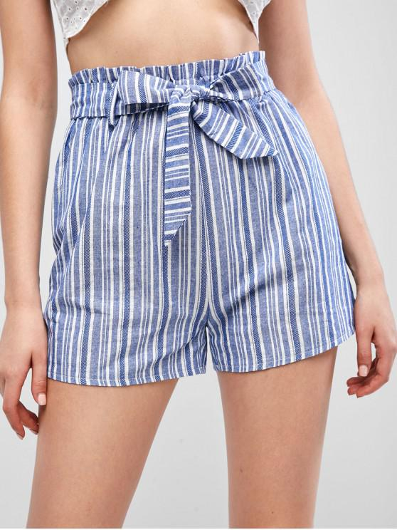 latest ZAFUL Belted Striped Paperbag Shorts - BLUE M