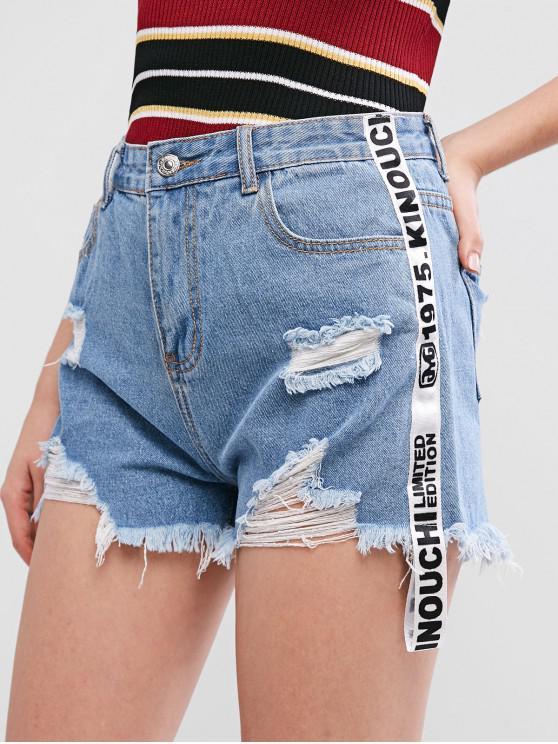 Pantalones cortos de mezclilla desgastados con ribete gráfico desgastado - Azul Oscuro de Denim S