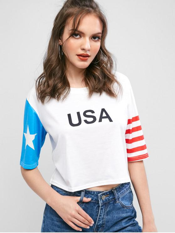 new American Flag USA Print Cropped T-shirt - WHITE M