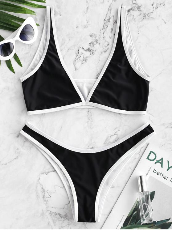new ZAFUL Contrast Piping High Leg Convertible Bikini Swimsuit - BLACK L