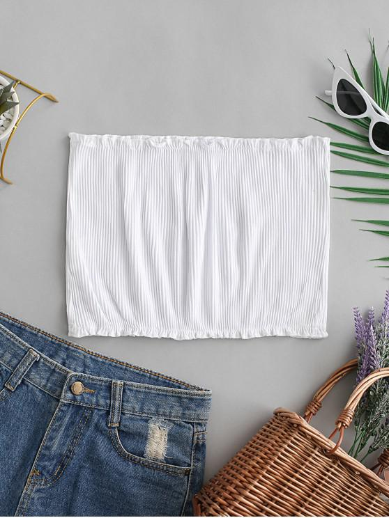 ladies Ribbed Frilled Tube Top - WHITE S