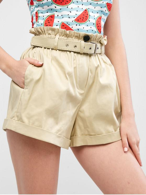 new Buttons Belted Wide Leg Paperbag Shorts - LIGHT KHAKI M