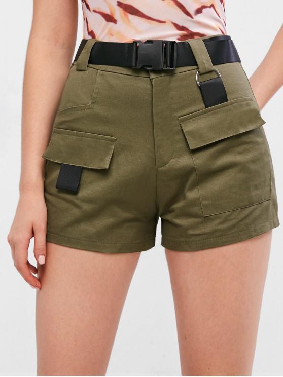 Pantaloncini con cerniera e tasche con cerniera - Verde Bruno Chiaro L
