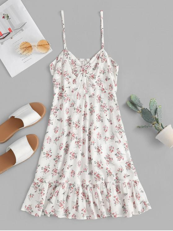 fancy ZAFUL Floral Twisted Flounce Cami Summer Dress - NATURAL WHITE M