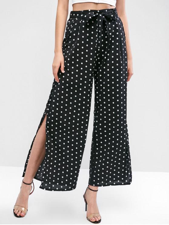 online Belted Slit Polka Dot Wide Leg Pants - BLACK S