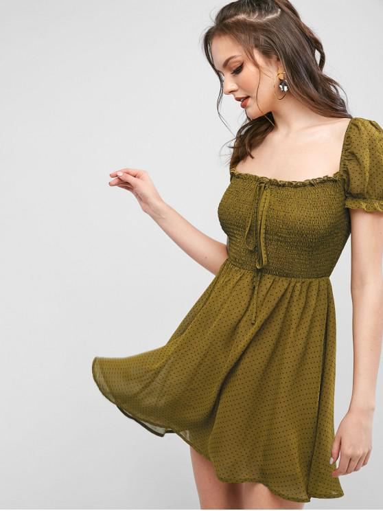 new ZAFUL Polka Dot Smocked Chiffon Mini Milkmaid Dress - OAK BROWN L