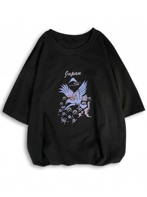 T-shirt con stampa maniche corte a maniche corte - Nero L