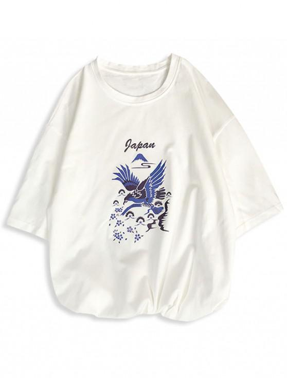 Camiseta de manga corta con estampado de letras de aves del prado - Blanco XS