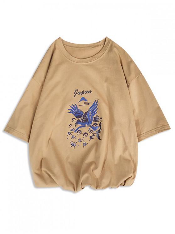 T-shirt con stampa maniche corte a maniche corte - Marrone Cammello L
