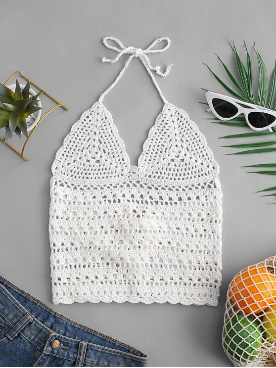 new Halter Lace-up Crochet Top - WHITE L