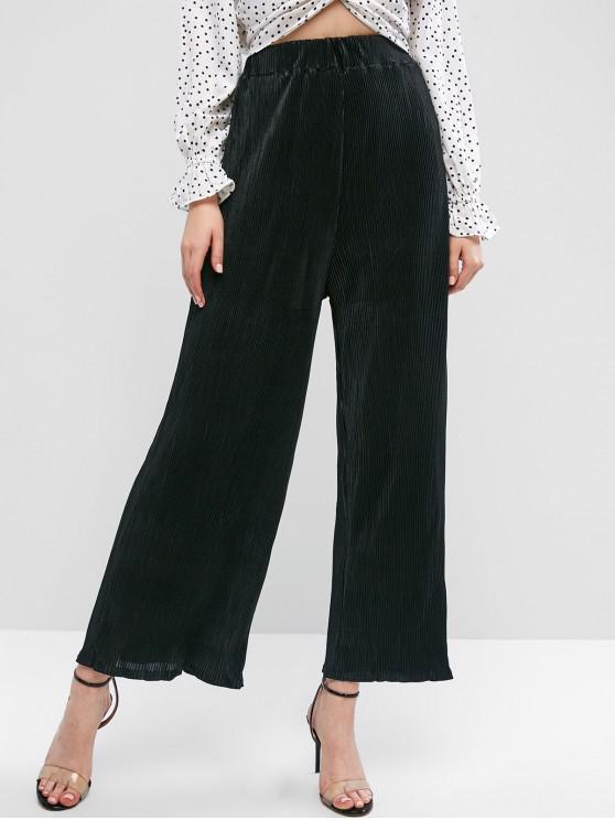 check-out 2f168 12cfe Pantaloni larghi a vita alta pieghettati BLACK