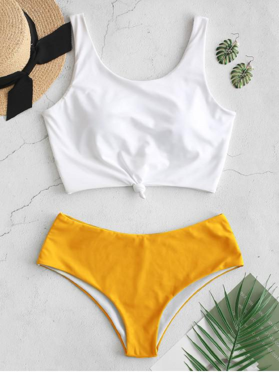 shops ZAFUL Knotted Color Block Tankini Set - BRIGHT YELLOW S