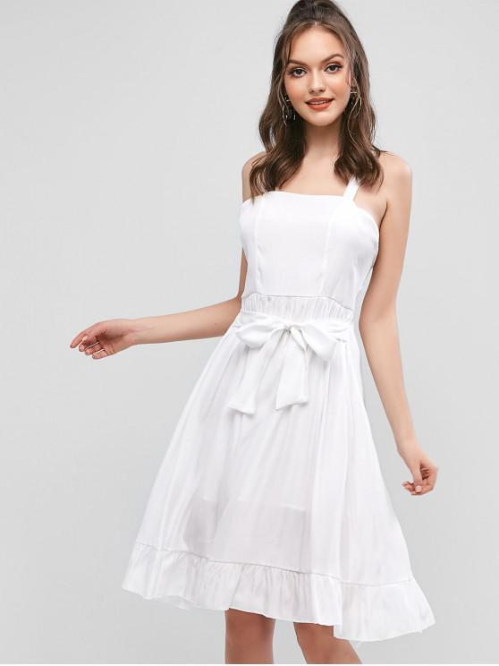 Robe Noué à Volants à œillet - Blanc XL