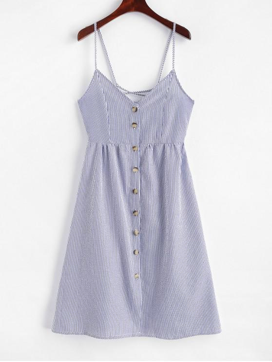 women Lace Up Button Up Stripes Cami Dress - BLUE S