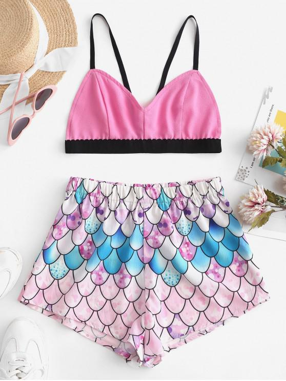 womens ZAFUL Bralette Top And Mermaid Scale Shorts Set - MULTI L