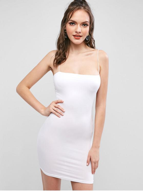 affordable Solid Color Bodycon Cami Dress - WHITE S