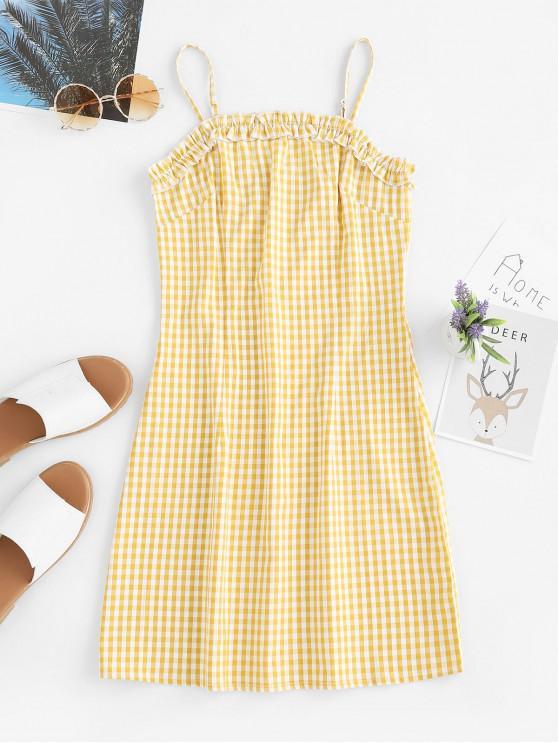 fancy ZAFUL Ruffles Plaid Cami Mini Dress - BEE YELLOW L
