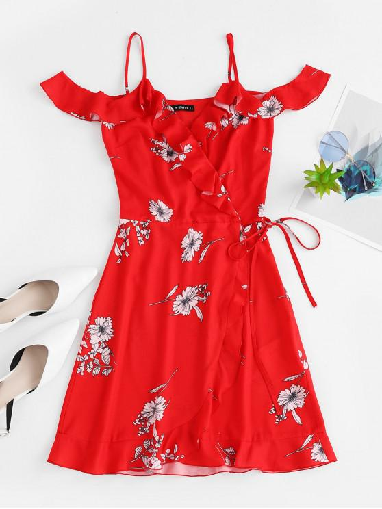 hot ZAFUL Flower Ruffle Cold Shoulder Wrap Dress - RUBY RED M