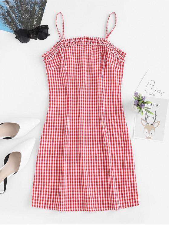 ZAFUL Ruffles Plaid Cami Mini Dress - Rosso S