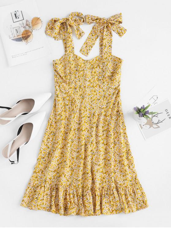 hot ZAFUL Tiny Floral Print Tie Shoulder Pep Hem Dress - BEE YELLOW S