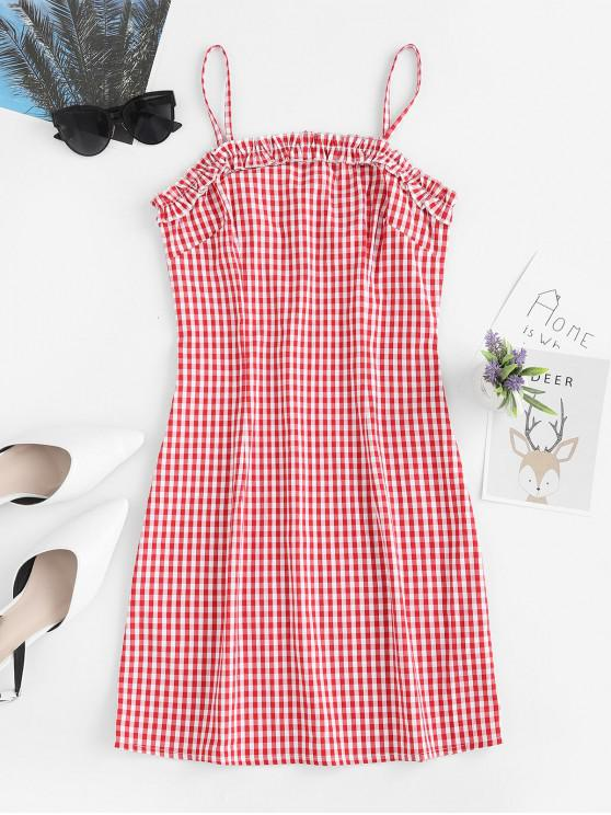 outfit ZAFUL Ruffles Plaid Cami Mini Dress - RED L