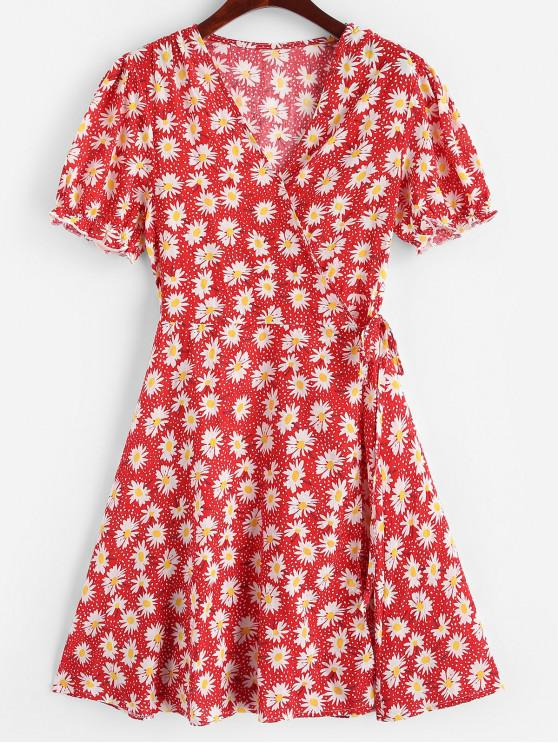 buy Daisy Print Wrap Mini Dress - RED M