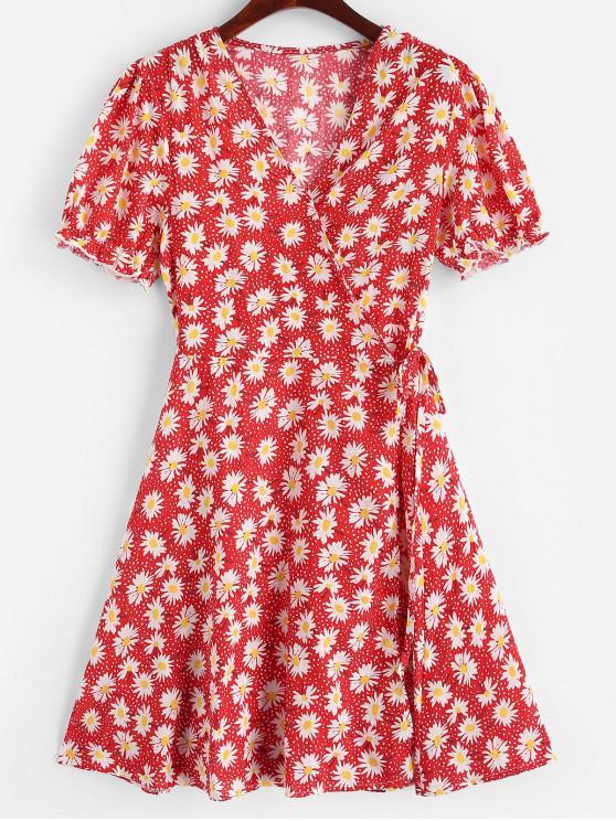 sale Daisy Print Wrap Mini Dress - RED L
