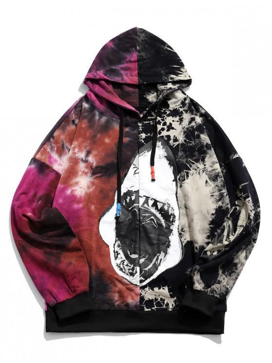 trendy Contrast Color Spliced Tie Dye Graphic Print Hoodie - RED 2XL