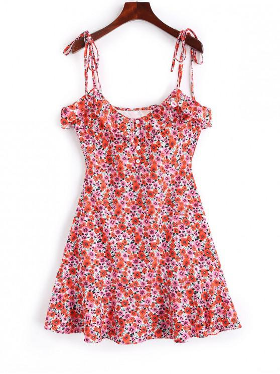 trendy Buttoned Ruffles Floral Cami Dress - MULTI S