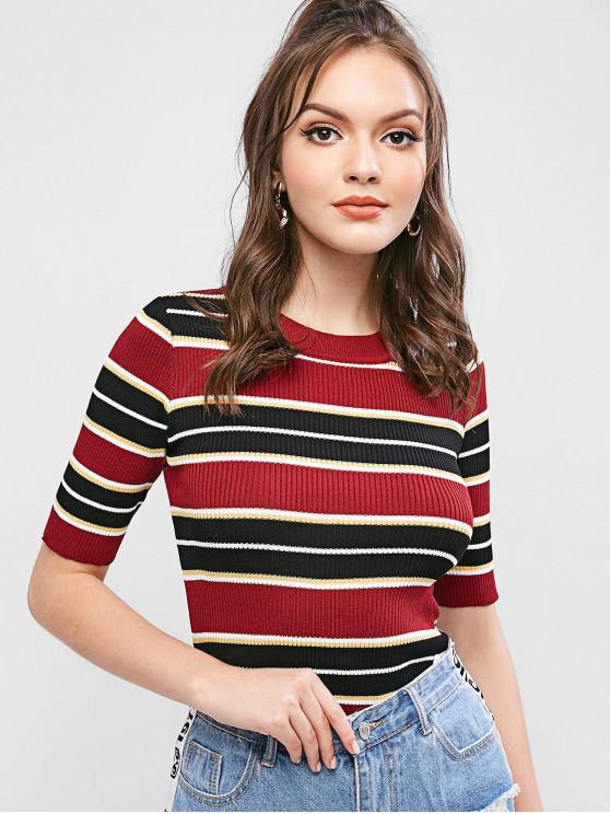 best Crew Neck Stripes Ribbed Knit Tee - RED WINE ONE SIZE