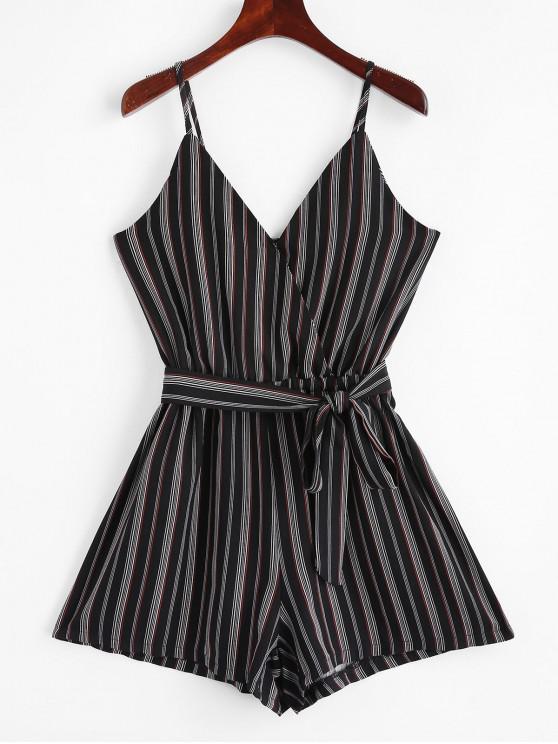trendy Belted Stripes Surplice Cami Romper - MULTI L