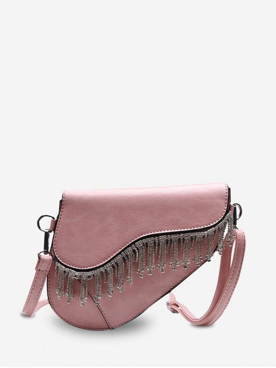 women's PU Leather Fringed Crossbody Bag - PINK