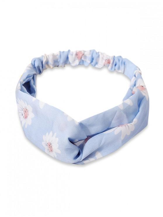 花卉印花彈力髮帶 - 天藍