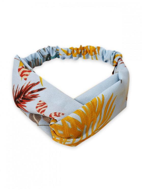 chic Leaf Print Elastic Hair Band - LIGHT BLUE