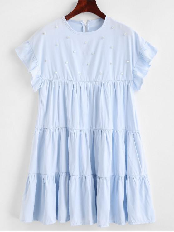 Abito in tinta unita con perline - Blu Jeans  M