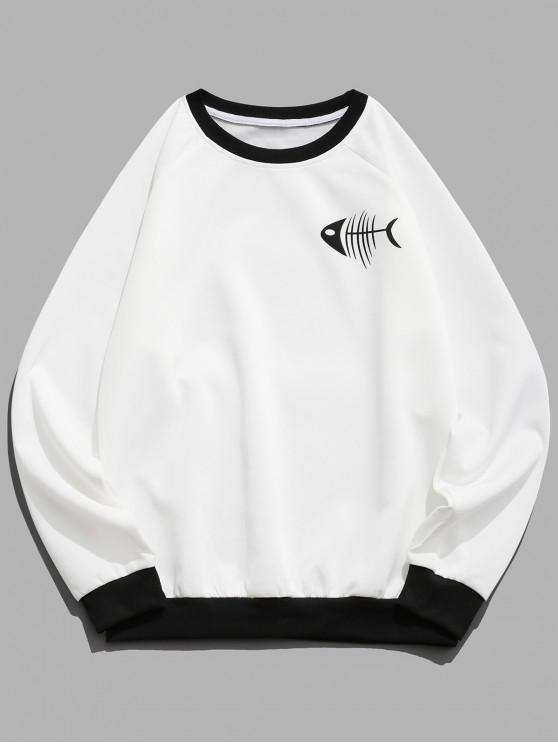 chic Fishbone Cat Print Color Block Ringer Sweatshirt - WHITE L