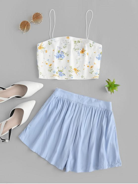 hot ZAFUL Crop Floral Spaghetti Strap Two Piece Shorts Set - SEA BLUE XL