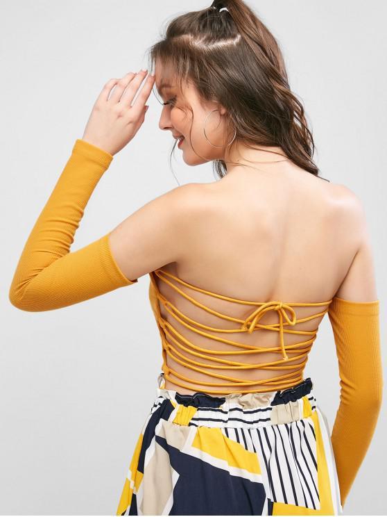 women Off Shoulder Lace Up Crop Tee - GOLDENROD L