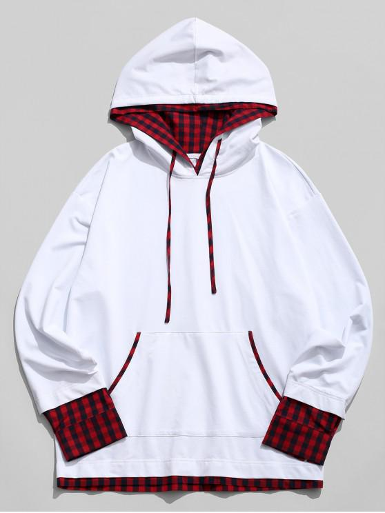 fancy ZAFUL Faux Twinset Plaid Trim Front Pocket Hoodie - WHITE S