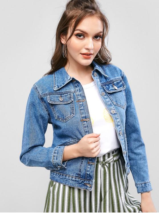 online ZAFUL Front Pocket Button Up Denim Jacket - DENIM DARK BLUE S