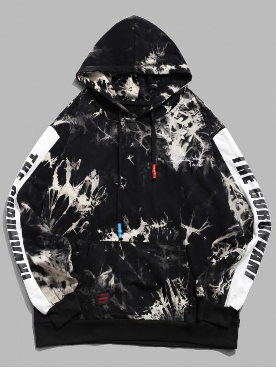 outfits Letter Print Color Blocking Splicing Tie Dye Hoodie - BLACK L