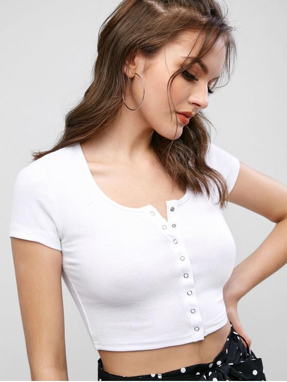 T-shirt Court en Couleur Unie avec Bouton-pression - Blanc S