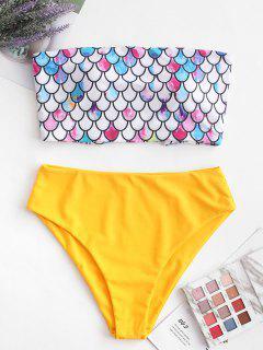 ZAFUL Scale Print Cross Bandeau Mermaid Bikini Swimsuit - Bright Yellow Xl